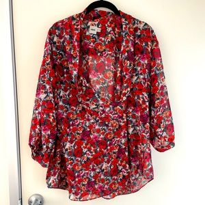 Wrap front floral chiffon blouse